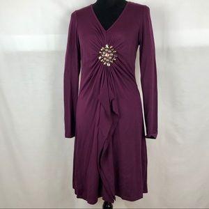KAREN KANE Merlot Embellished  Rayon Dress Sz M